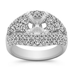 Steps Diamond Engagement Ring with Pave Setting