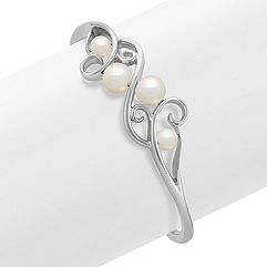 7.5mm Cultured Freshwater Pearl and Sterling Silver Cuff Bracelet (7 in.)