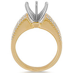 Cathedral Diamond Engagement Ring with Channel and Pavé Setting