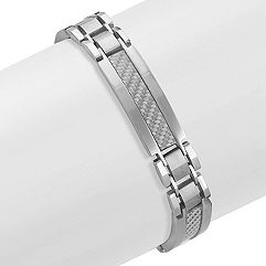 Stainless Steel Bracelet with Silver Carbon Fiber Accents (8.5 in.)