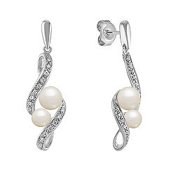4.5-6mm Cultured Freshwater Pearl and Round Diamond Earrings in Sterling Silver