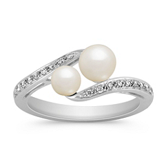 4.5-6mm Cultured Freshwater Pearl and Diamond Ring in Sterling Silver