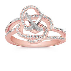 Round Diamond Floral Ring with Pave Setting in Rose Gold