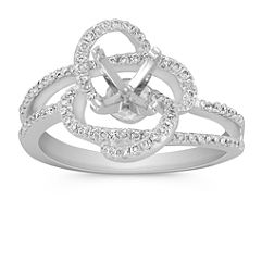 Round Diamond Floral Ring with Pave Setting