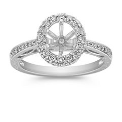 Vintage Two Sided Halo Diamond Engagement Ring with Pave Setting
