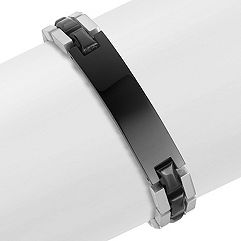 Engraveable Stainless Steel Bracelet with Black Ionic Plating (9 in.)