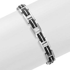 Black and Stainless Steel Bracelet (8.5)
