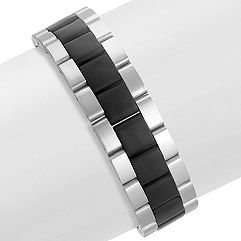 Stainless Steel Bracelet with Black Ionic Plating (8.5 in.)