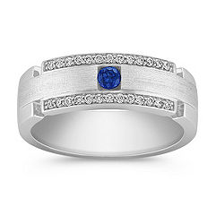 Sapphire and Diamond Ring with Pavé Setting