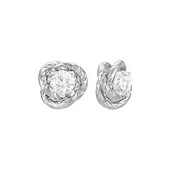 14k White Gold Knot Earring Jackets
