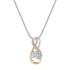 Diamond Pendant in Two-Tone Gold (18 in.)