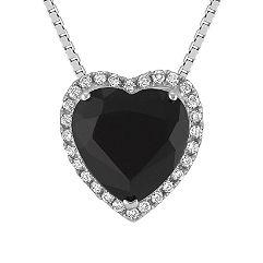 Heart-Shaped Black Sapphire and Round Diamond Pendant (18)