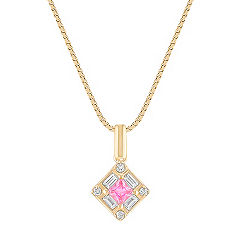 Princess Cut Pink Sapphire, Round and Baguette Diamond Pendant (18 in.)