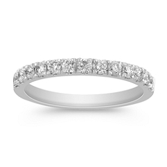 Classic Diamond Wedding Band in Platinum with Pave Setting