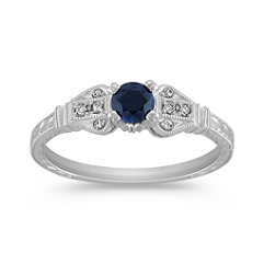 Vintage Midnight Blue Sapphire and Diamond Ring