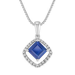 Square Cut Sapphire and Round Diamond Pendant (18 in.)