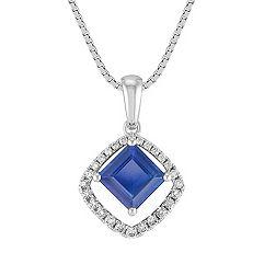 Square Cut Sapphire and Round Diamond Pendant (18 in.)