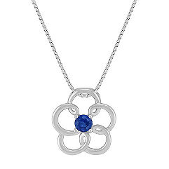 Sapphire Flower Pendant in Sterling Silver (18)