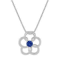 Sapphire Flower Pendant in Sterling Silver (18 in.)
