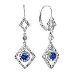 Dangle Sapphire and Diamond Earrings