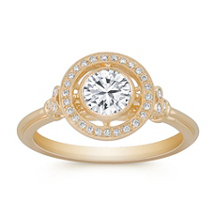 Round White Sapphire and Diamond Ring
