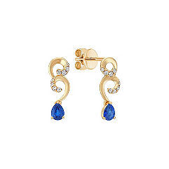 Pear Shaped Sapphire and Round Diamond Earrings