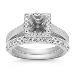 Halo Diamond Wedding Set with Pave Setting and Rope Detail Band