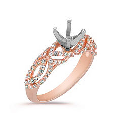 Diamond Engagement Ring with Pavé Setting in Rose Gold