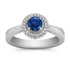 Sapphire and Diamond Ring with Pave Setting