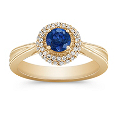 Sapphire and Diamond Ring with PavéSetting