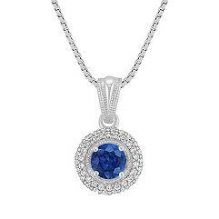 Sapphire and Diamond Circle Pendant (18 in.)