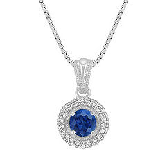 Sapphire and Diamond Circle Pendant (18 in.)