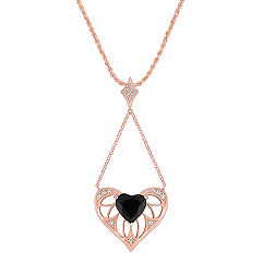Heart-Shaped Black Sapphire and Round Diamond Pendant in 14k Rose Gold (18 in.)