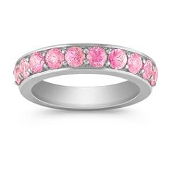 Pink Sapphire Wedding Band