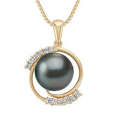 10mm Cultured Tahitian Pearl and Round Diamond Pendant (18)