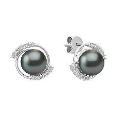 Diamond and 8mm Cultured Tahitian Pearl Earrings