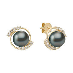 8mm Cultured Tahitian Pearl and Round Diamond Earrings
