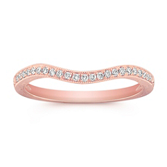 Vintage Diamond Contour Wedding Band in Rose Gold