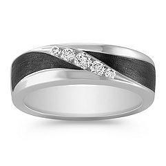 Diamond Men's Ring with Black Ruthenium