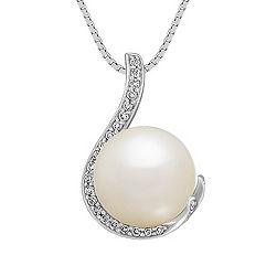 11mm Cultured South Sea Pearl and Round Diamond Swirl Pendant (18 in.)