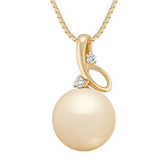 11mm Cultured Golden South Sea Pearl and Diamond Pendant (18 in.)