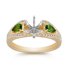 Vintage Pear Shaped Green Sapphire and Round Diamond Engagement Ring