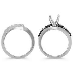 Swirl Round Black Sapphire and Diamond Wedding Set with Black Ruthenium