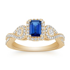 Emerald Cut Sapphire and Round Diamond Ring