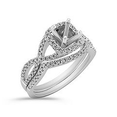 Infinity Halo Diamond Wedding Set with Pavé Setting