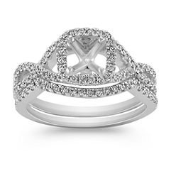 Infinity Halo Diamond Wedding Set with Pave Setting