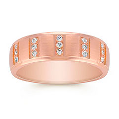 Diamond Ring with Satin Finish in 14k Rose Gold