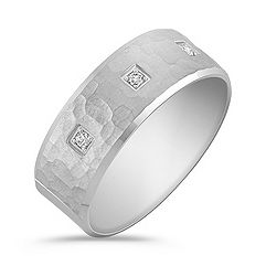 Diamond Ring with Hammered Finish