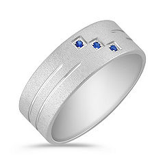 Sapphire Men's Ring with Satin Finish