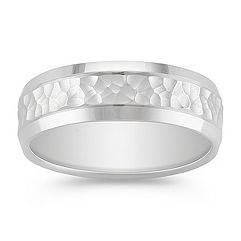 14k White Gold Comfort Fit Ring with Hammered Finish (7.5mm)